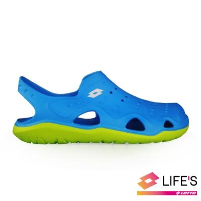 LOTTO 義大利 男 輕潮洞洞鞋 (藍)