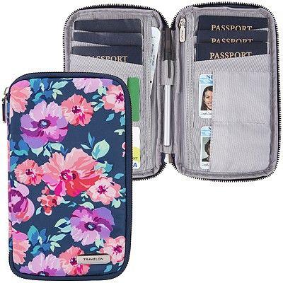 《TRAVELON》多功能旅遊護照包(花卉)