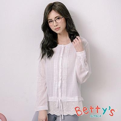 betty's貝蒂思 連帽拼接蕾絲繡花開襟上衣(白色)