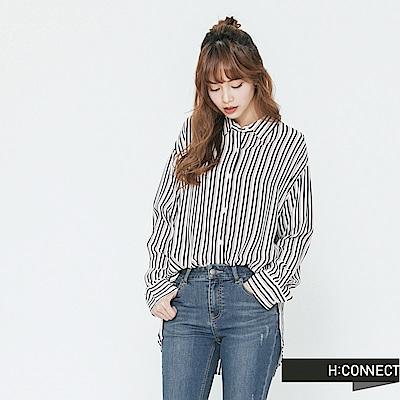 H:CONNECT 韓國品牌 女裝-質感條紋配色襯衫-白