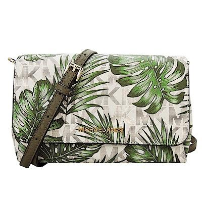 MICHAEL KORS JET SET 滿版棕櫚葉造型翻蓋斜背包(中/米X綠)