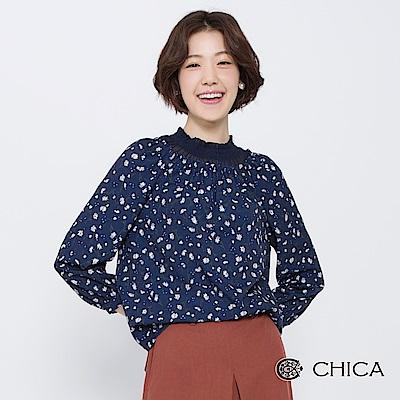 CHICA 秋日小雛菊蕾絲領燈籠袖上衣(2色)