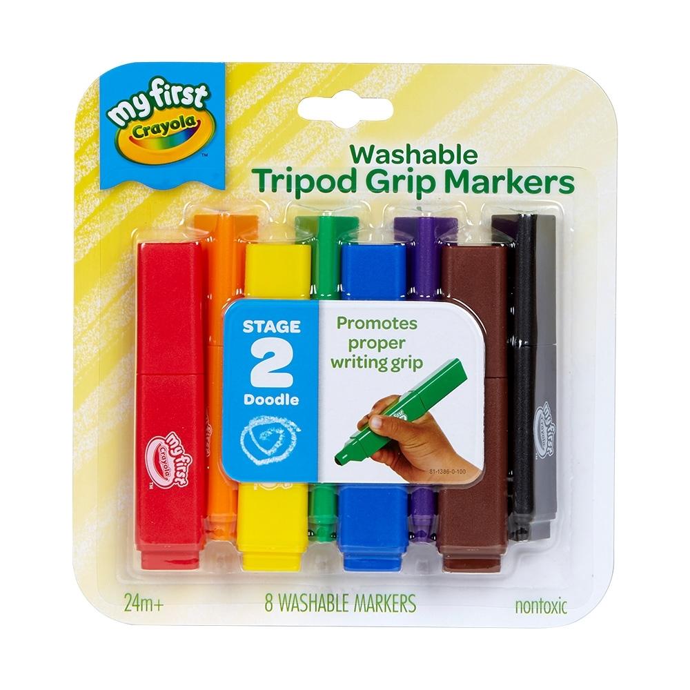 【美國crayola 繪兒樂】幼兒可水洗三角筆桿彩色筆8色