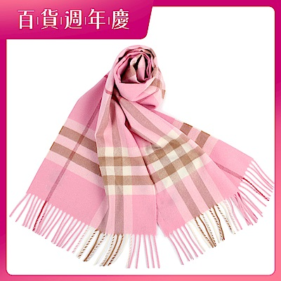 BURBERRY 經典格紋100%喀什米爾羊毛圍巾-糖果粉紅