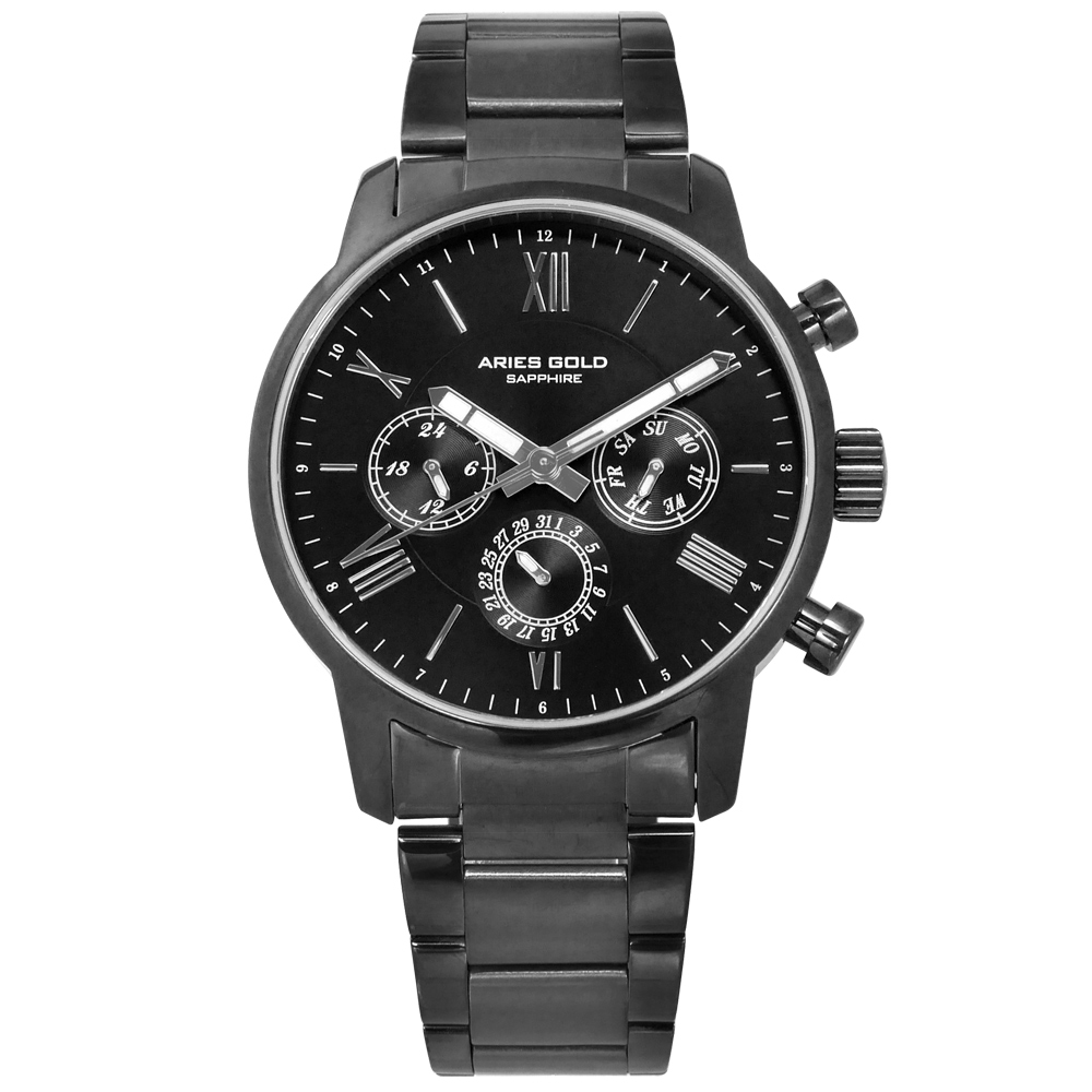 ARIES GOLD 商務三眼 羅馬時標 藍寶石水晶玻璃 不鏽鋼手錶-黑x鍍灰/43mm