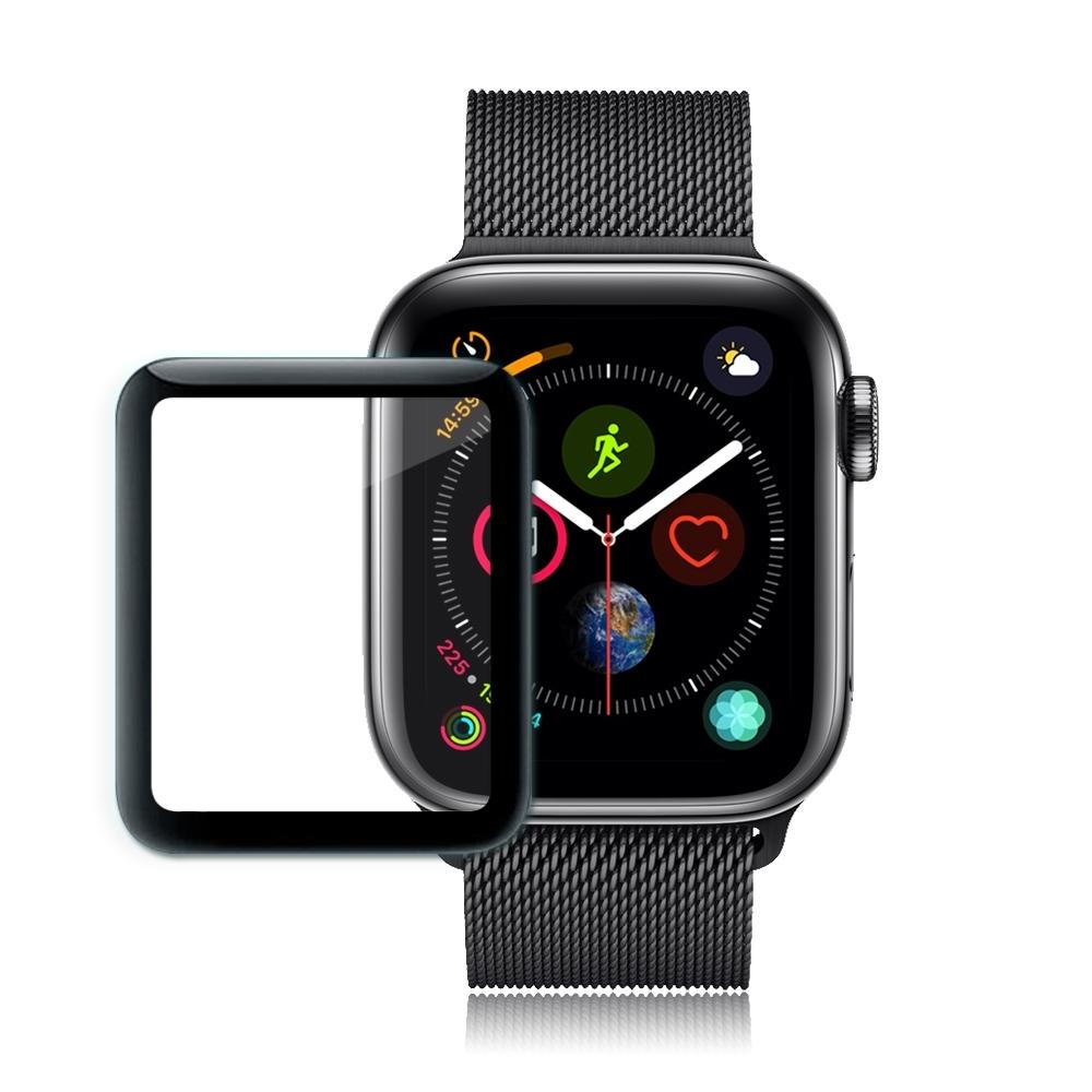 GLA Apple Watch Series 4 44mm全膠曲面滿版疏水玻璃貼(黑)