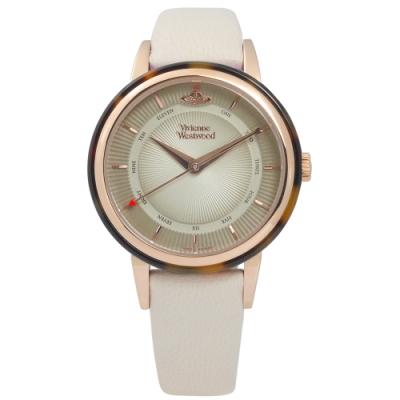 Vivienne Westwood 放射 琥珀 真皮手錶-米灰x琥珀框/36mm