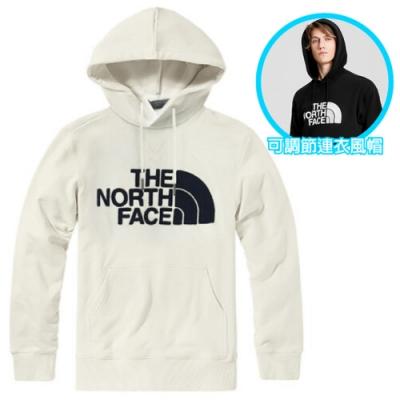 The North Face 男女款 經典大LOGO 彈性長袖可調節保暖連帽上衣.T恤_白 N