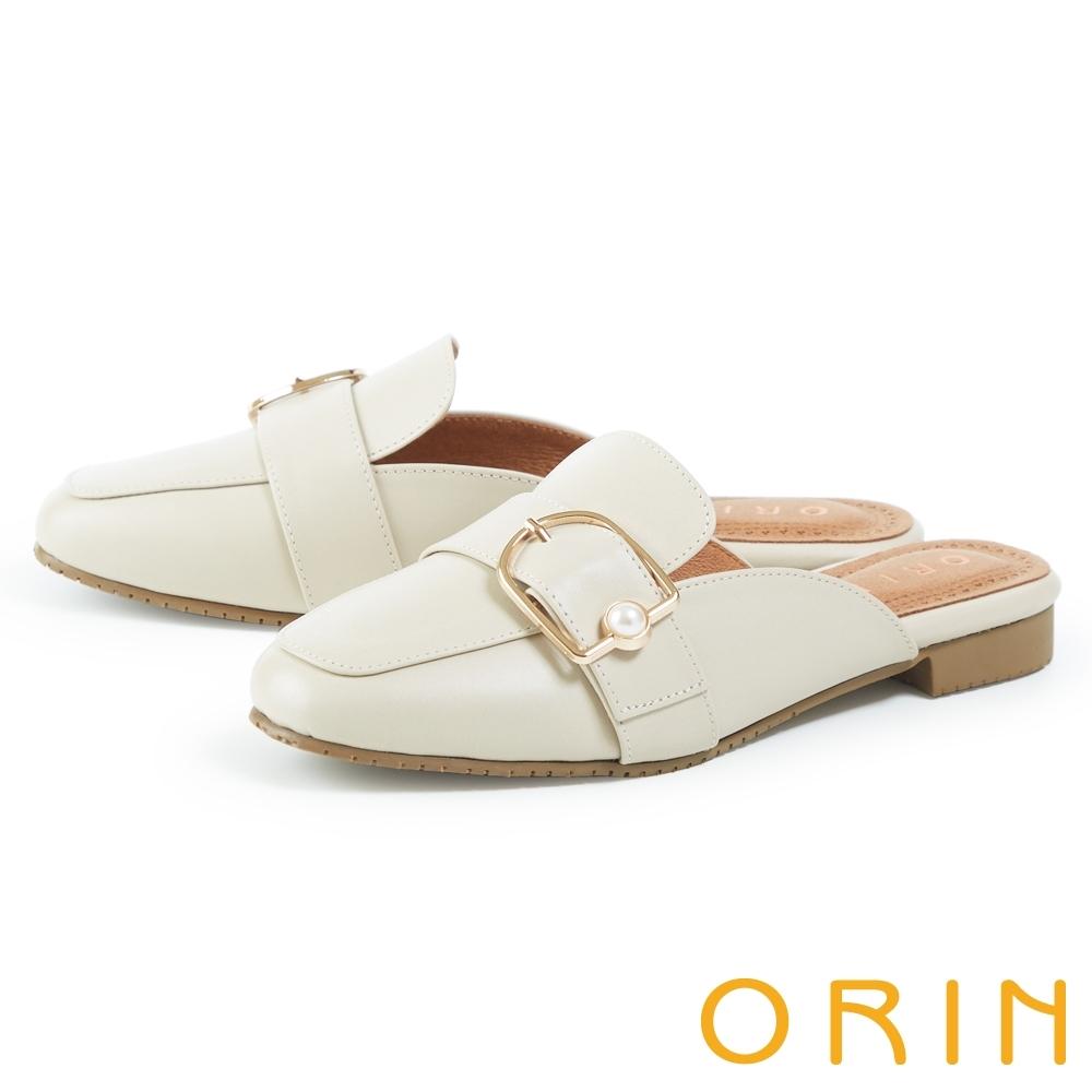 ORIN 金屬釦環珍珠真皮低跟 女 穆勒鞋 米色