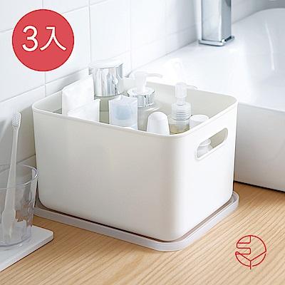 【日本霜山】無印風霧面 附蓋 把手收納盒-L-3入