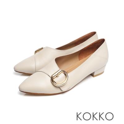 KOKKO - 心的盡頭小方頭D扣羊皮低跟鞋 - 燕麥米