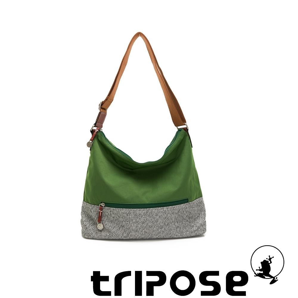 tripose 漫遊系列岩紋輕巧側肩背包 草地綠