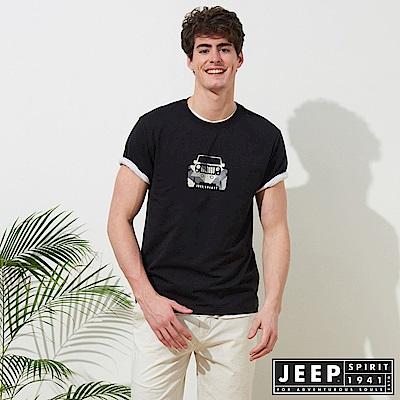 JEEP 美式迷彩圖騰短袖TEE-黑色