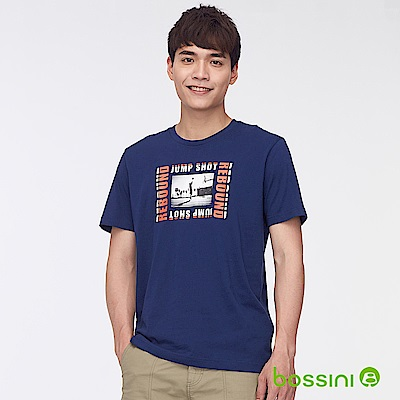 bossini男裝-印花短袖T恤34海軍藍