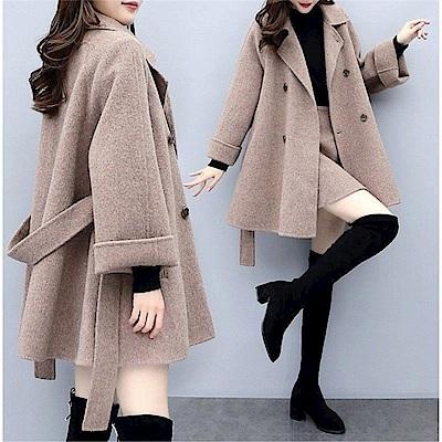 DABI 韓系毛呢外套寬鬆時尚半身短裙套裝長袖裙裝