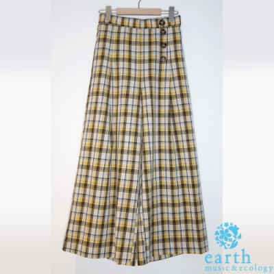 earth music 格紋排釦寬褲