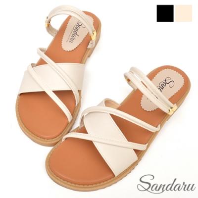 山打努SANDARU-涼鞋 兩穿斜帶軟底平底鞋-米