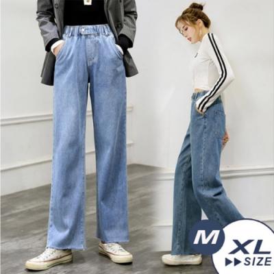 【LANNI 藍尼】模力時尚鬆緊牛仔闊腿褲-2色(M-XL)●