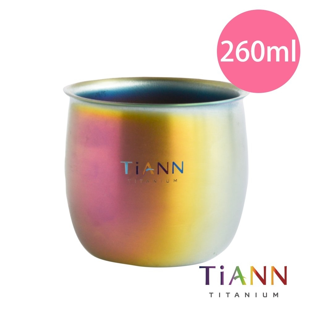 TiANN 鈦安純鈦餐具 純鈦 雙層圓滿杯260ml(快)