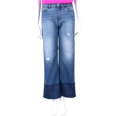 Emporio Armani J33 Regular Fit 藍色拼接褲管寬版牛仔褲