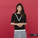 【KiKi】質感V線條七分袖-針織衫(黃色)