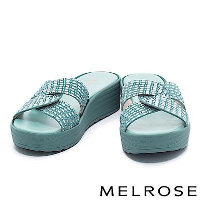 拖鞋 MELROSE 舒適百搭閃耀晶鑽交叉休閒厚底拖鞋-藍