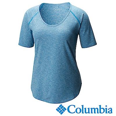 Columbia哥倫比 女款-防曬50快排短袖上衣-藍色UAR10710BL