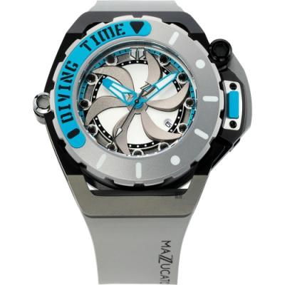 Mazzucato RIM SCUBA 雙時區潛水翻轉機械錶(SUB06)-藍灰色/48mm