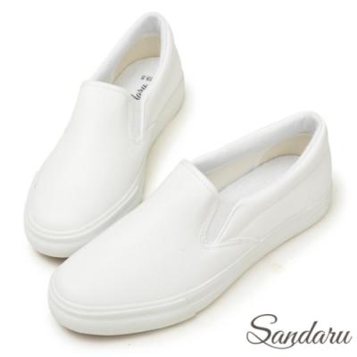 山打努SANDARU-素面超軟皮革休閒懶人鞋-白