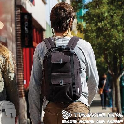 【Travelon美國防盜包】ORIGIN抗菌防盜後背包TL-43551黑/RFID/防割保護網/休閒旅遊包/商務包/電腦包