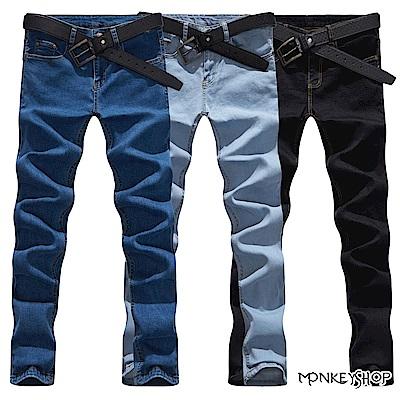 Monkey Shop 素面高彈性伸縮丹寧牛仔長褲-3色