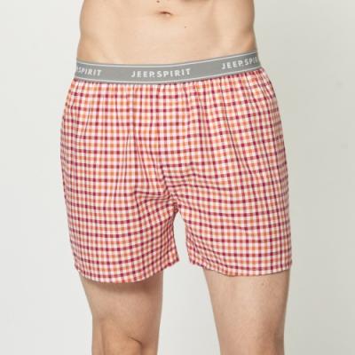 JEEP 五片式剪裁 純棉平口褲-橘紅格紋