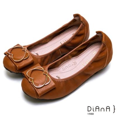 DIANA 心型交織氣質甜美真皮娃娃鞋-漫步在雲端厚切焦糖美人-棕