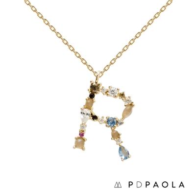 PD PAOLA 西班牙輕奢時尚品牌 字母R 彩鑽寶石項鍊