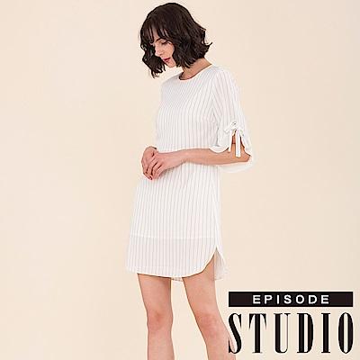 EPISODE Studio - 條紋綁帶袖口造型洋裝(白)