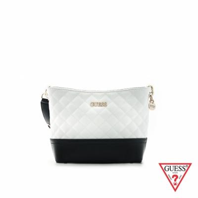 GUESS-女包-時尚氣質撞色菱格紋肩背包-白 原價2890