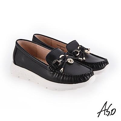 A.S.O 3D超動能 俏皮活力飾釦休閒鞋 黑
