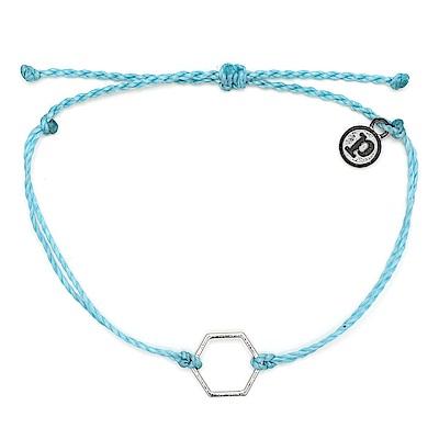 Pura Vida 美國手工 銀色六角形 水藍色臘線衝浪手鍊手環