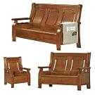 綠活居 范瑟亞雅緻風實木沙發椅組合(1+2+3人座)