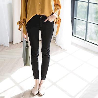 素色基本款彈性舒適開釦窄管長褲-OB大尺碼