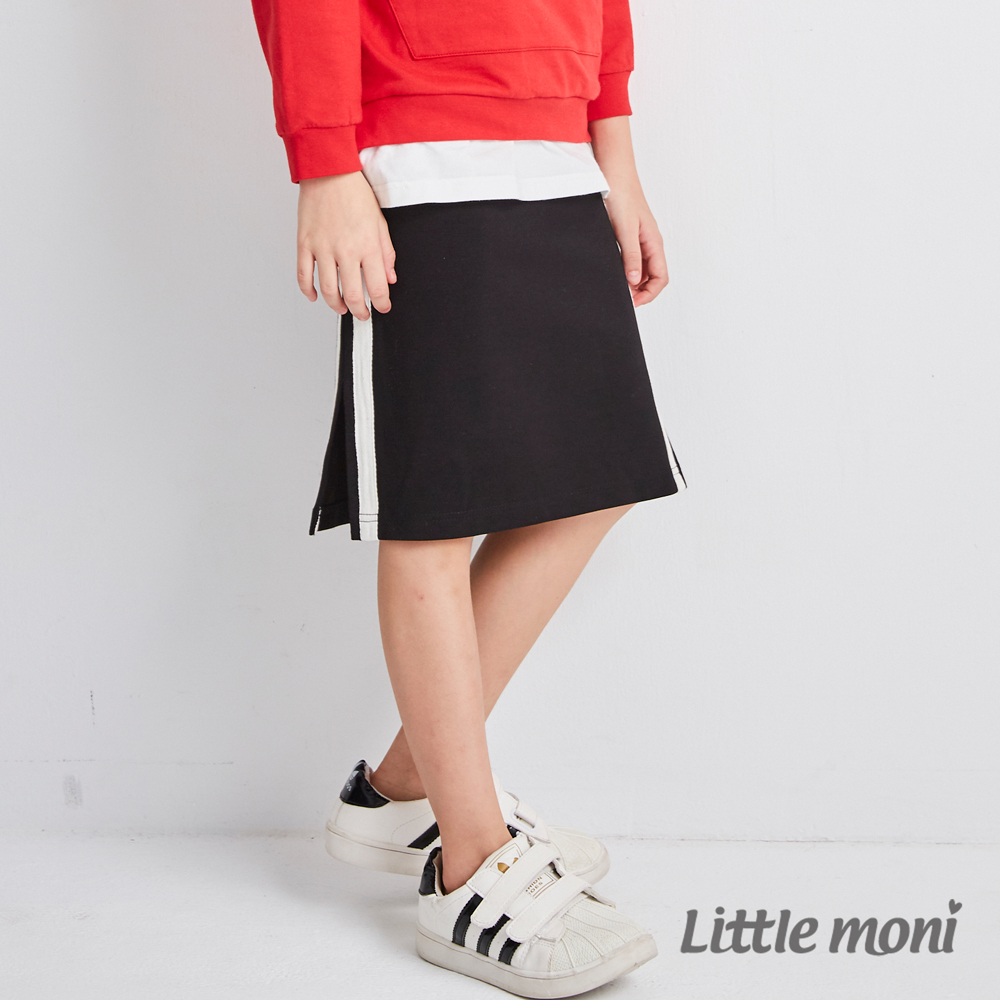 Little moni 雙側織帶運動裙(黑色)
