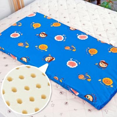 奶油獅 同樂會系列-100%精梳純棉布套+馬來西亞天然乳膠嬰兒床墊-宇宙藍60X120cm