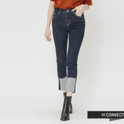 H:CONNECT 韓國品牌 女裝-純色反折造型牛仔褲-藍(快)