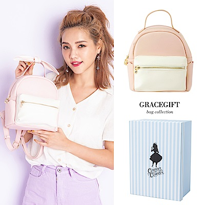 Disney collection by grace gift-愛麗絲蝴蝶結柔彩雙色後背包 粉