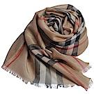 BURBERRY 經典大格紋金屬感格紋絲綢羊毛圍巾(駝/金色/215 x 70cm)