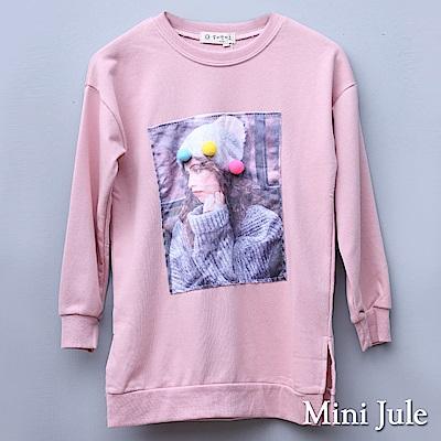 Mini Jule 大童 上衣 毛球人像貼布長版寬鬆長袖上衣(粉)