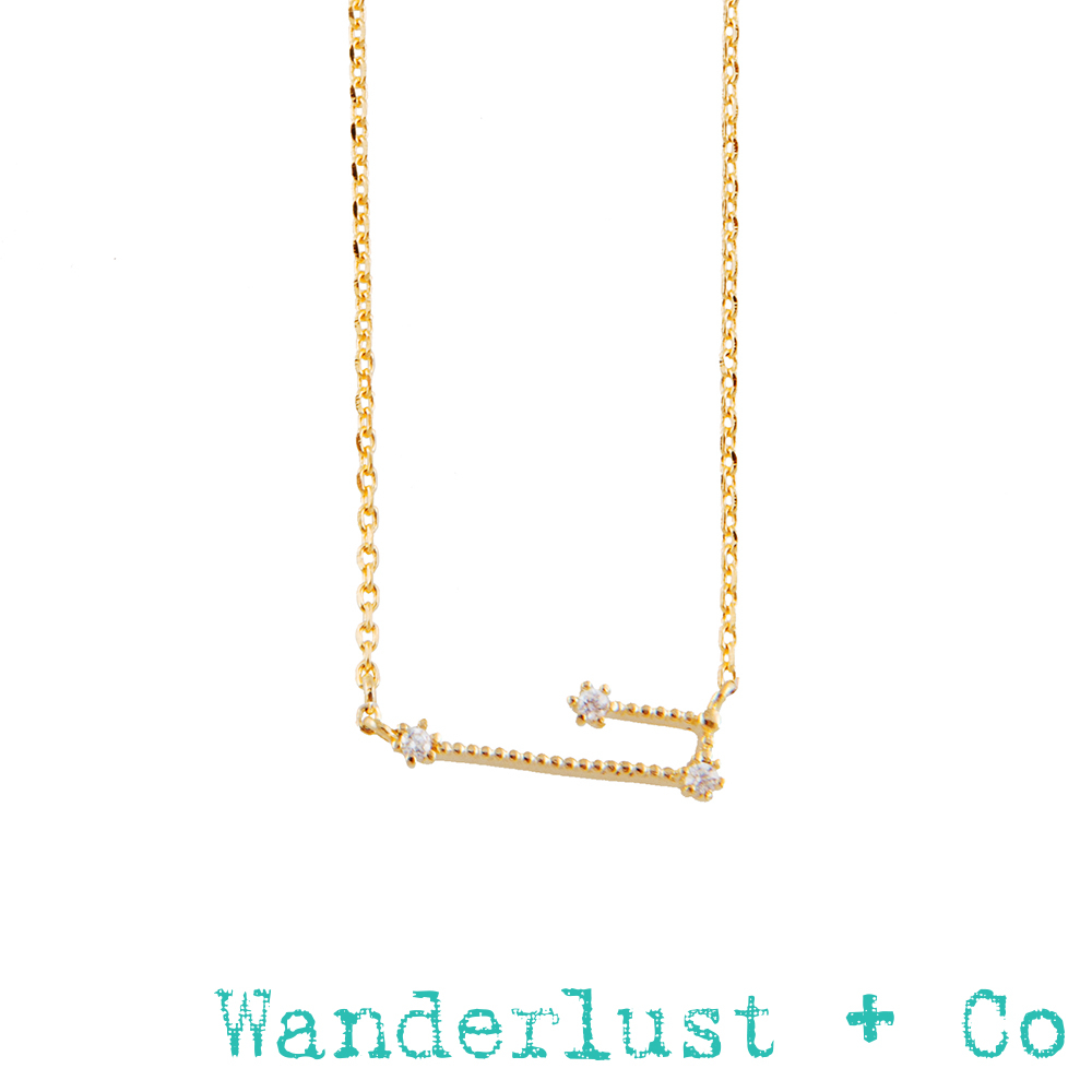 Wanderlust+Co 12星座系列- 金牛座金色水鑽項鍊