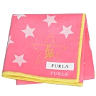 FURLA 繽紛星星圖騰品牌字母LOGO帕領巾(桃紅/鮮黃邊)