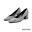 達芙妮DAPHNE 跟鞋-V形鞋口千鳥格紋復古粗跟鞋-格紋灰