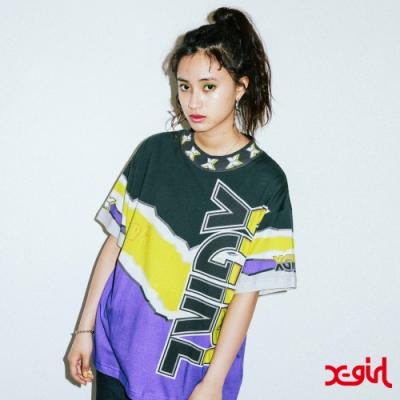 X-girl VIVID THUNDER TEE短袖T恤-黑/黃/紫